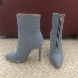 Studded Denim Bootie Heel